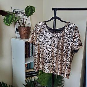 Topshop Sequin Short Sleeve Blouse